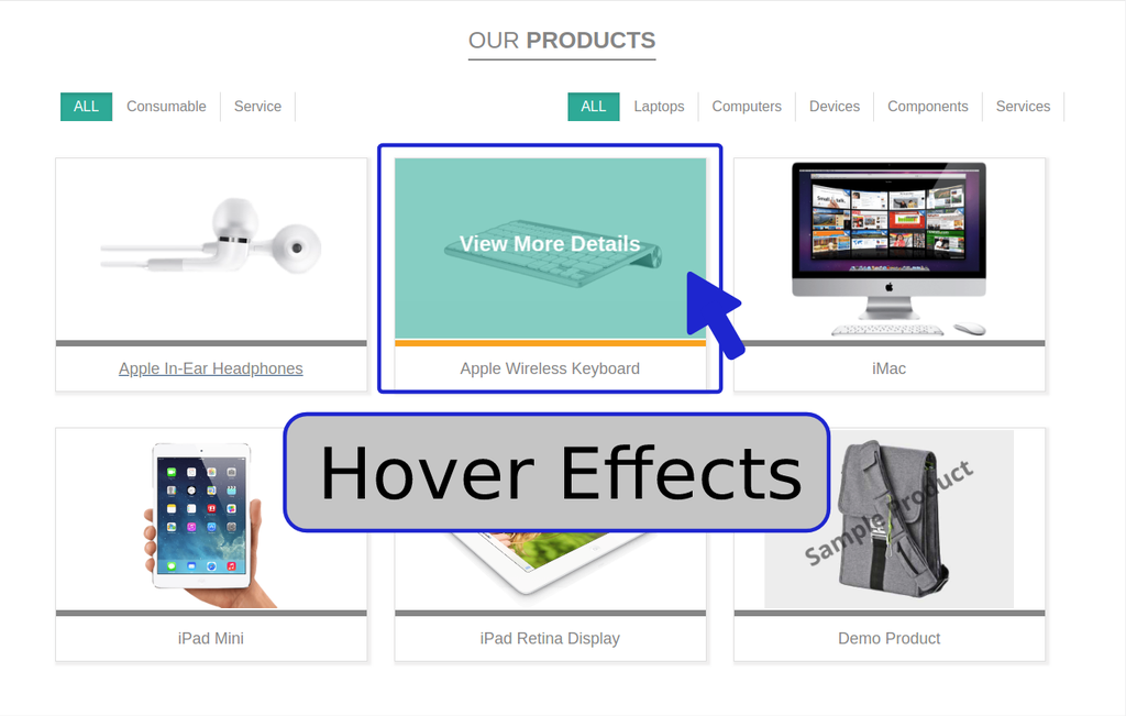 Product listing with hover effect and infinite scroll