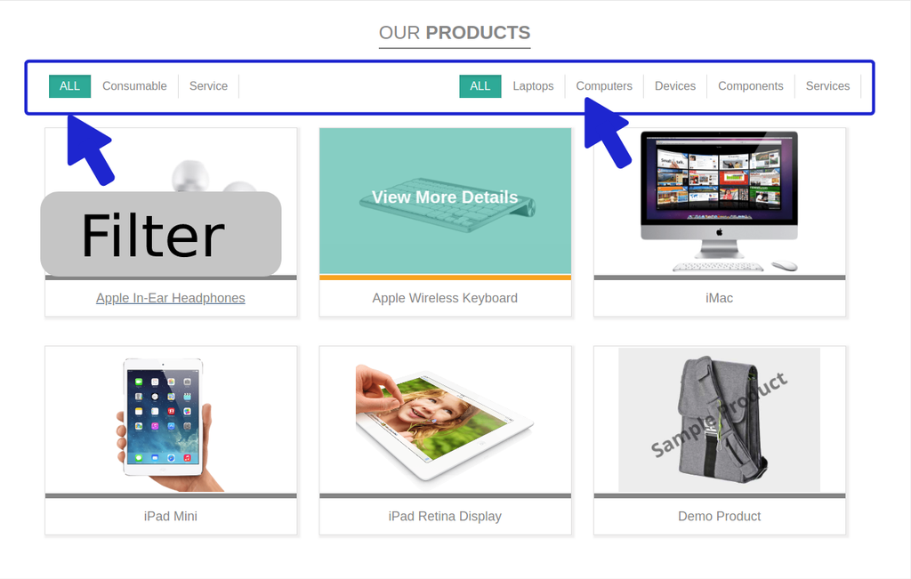 You can use filter as per product category