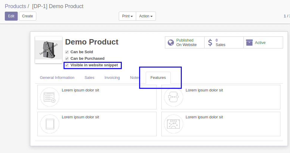 Add feature description and icons from backend