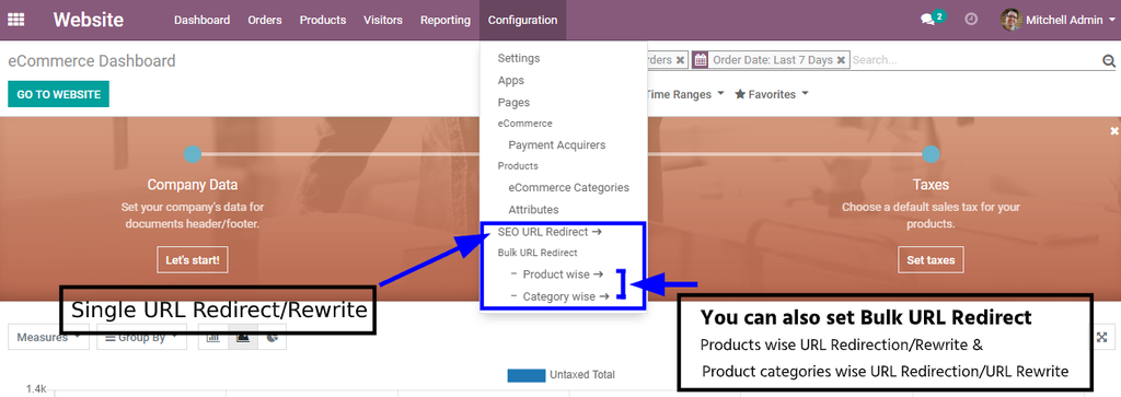 Single and multiple URL redirection in odoo website: