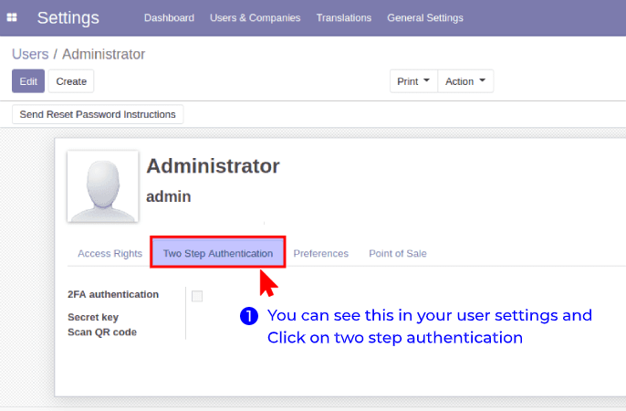 Steps to enable the 2FA for backend users  - 1. Go to settings > users > USER