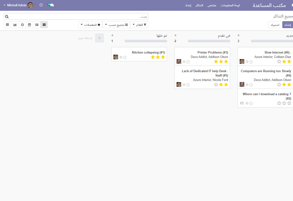 Kanban View - Tickets with Status