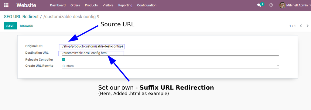 You can also set surfix URL, You can see in following screenshot
