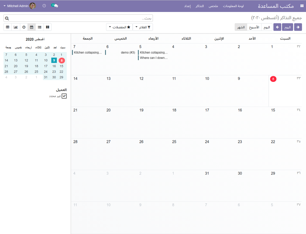 Calendar View - Tickets with Status