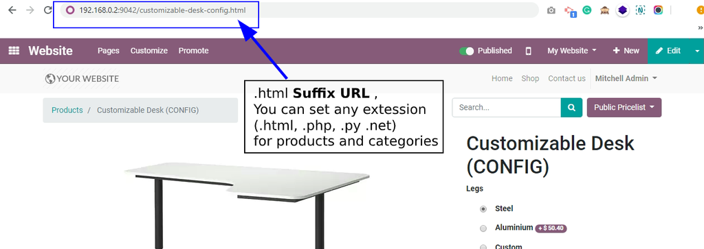 Example of SURFIX URL Redirection
