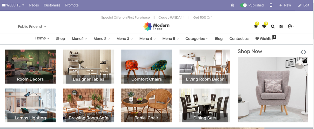 Product menu and category of odoo ecommerce theme