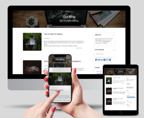 Fully Responsive This blog design page is fully supported for your odoo website and pulished blog lists fully responsive with all major devices  Smart Phones Tablets and iPad Mac Screens Desktops