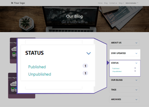 Status If you logged in your odoo system then you can check blog publishing status, you can able see how many blogs mentioned us :  Published Unpublished