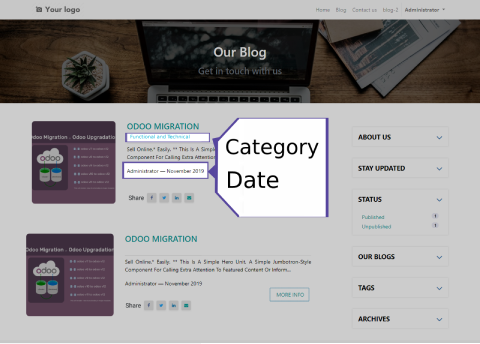 Datewise Blog Listing We have implemented datewise blog listing in this odoo blog page design and you can able to upload blogs and date will appear as formatted :  Published blogs date Number of views Blog categories