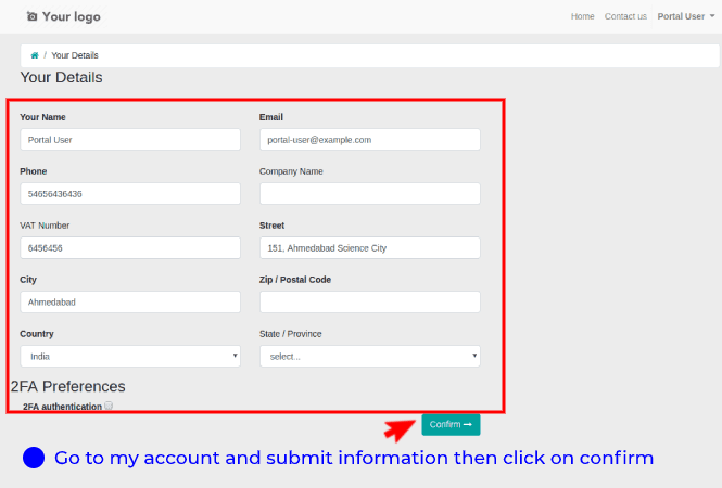 Steps to enable the 2FA for portal users - 1. Go to my account