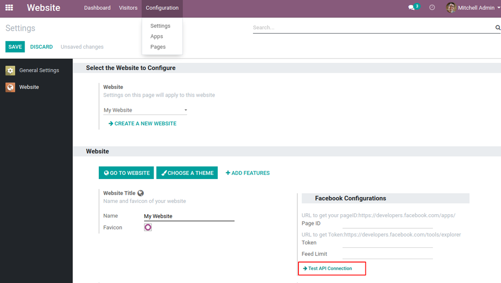 Drag and Drop Facebook posts snippet in odoo website editor.
