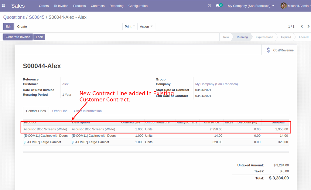 Sales Contract Subscription management in odoo, Sales Contract Subscription in odoo and Recurring Invoice in odoo